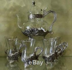 PERSIAN TURKISH ARABIC MIDDLE EASTERN STYLE TEA COFFEE POT & CUP Set of 6 SILVER