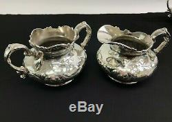 Pairpoint Quadruple Silver-plated Coffee & Tea Pot Set w Cream, Sugar, Waste