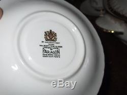 Paragon 498 White Gold Bone China 40 pc Scallop Mix Set Teapot Cup Coral Tureen