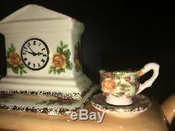 Paul Cardew Royal Albert Chintz Old Country Roses Fireplace Teapot Clock Book