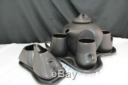 Peter Saenger Matte Black Abstract Coffee/Tea set seen on Star Trek MCM