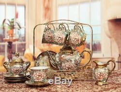 Porcelain Tea Set Teapot Sugar Bowl Creamer Cups & Saucers Metal Holder 15 Pcs