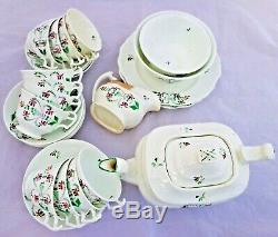 Porcelain Tea set London Shape Furrowed Teapot Gerrard Cope and Co 1830 Antique