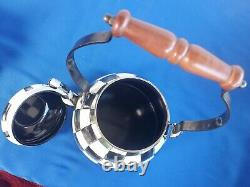 Pre-owned Mackenzie childs courtly check Enemal tea kettle, Tea Pot