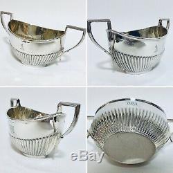 Quality Antique Solid Sterling Silver Tea Set Teapot Sugar Bowl 1906 C Horner