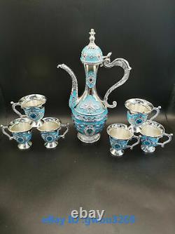 R85 Exquisite Chinese Tibetan silver Cloisonne Teapot Handwork Wine Jug Set
