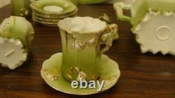 RARE Antique/Vintage Hot Chocolate Set with Snowdrop Flowers, 13 pieces