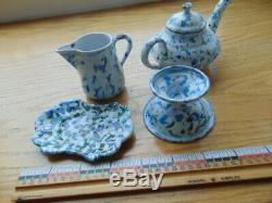 RARE Antique graniteware child's tea set- end of day, 4 c/s, creamer, teapot ++