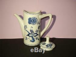 RARE BLUE DANUBE TEA SET, TEAPOT, CREAMER, SUGAR BOWL, LID, OLD BANNER Reg. US Pat. Off