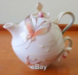 RARE FRANZ DELICATE TEAPOT PORCELEAN BUTTERFLY TEA for ONE SET