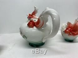 RARE! Franz Fine Porcelain Goldfish Teapot Cream & Sugar Set