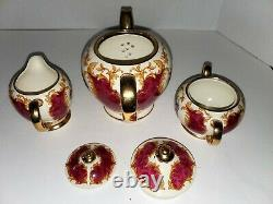RARE James Sadler Tea set, Teapot, Creamer, Sugar Bowl, Burgundy n Floral Design