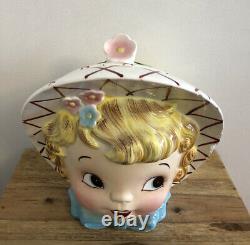 RARE VTG Lefton Miss Dainty Teapot ESD Japan 7549 Wide Brim Bonnet Ponytail HTF