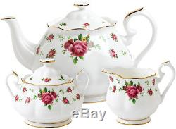 ROYAL ALBERT NEW COUNTRY ROSES (WHITE) 3 PIECE TEAPOT SET BRAND NEWithBOXED