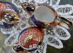 ROYAL CROWN DERBY 3pc QUAIL TEA SET Teapot, Sugar Bowl and Creamer ENGLAND A1316