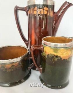 ROYAL DOULTON KINGSWARE 3 Pc Set RARE PIED PIPER Teapot Creamer & Sugar Sterling