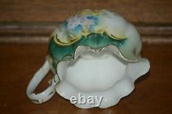 RS Prussia Teapot Set Creamer & Sugar Teal with HP Violets Unmarked