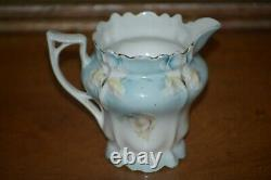 RS Prussia Teapot Set with Creamer & Sugar Teal with HP Pink & Yellow Roses