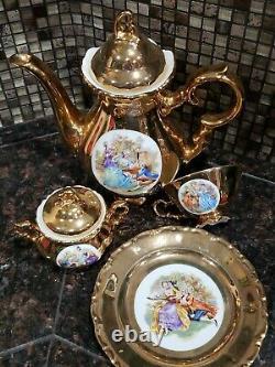 Rare Antique Bavaria Waldershof German Handarbeit 22 Karat Gold Tea Set