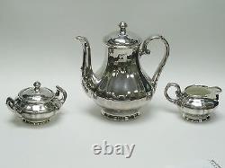 Rare Antique Friedrich Wilhelm Spahr Silver Overlay Tea Coffee Set Creamer Sugar