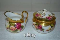 Rare Antique Golden Rose Royal Chelsea English Bone China Tea Pot 10 Pcs Set