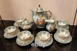Rare Antique Karlsbad Rembrandt Tea/Coffee Demitasse Set Courting Couple Germany
