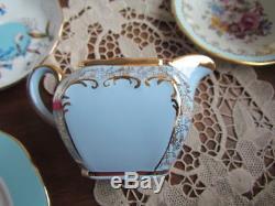 Rare Antique Vintage Sadler Blue Gold Tea pot Creamer Lot set Cube England