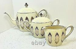 Rare Belleek Tea Set Pink & Gold Art Deco Panels Teapot, Creamer, Sugar