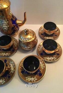 Rare Czech Bohemian Cobalt Blue Glass 21 Pc Teapot Set Heavy Gold Enamel Flowers