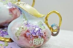Rare GDA France Limoges Hand Painted Violets 16 Piece Tea Set Teapot Teacups