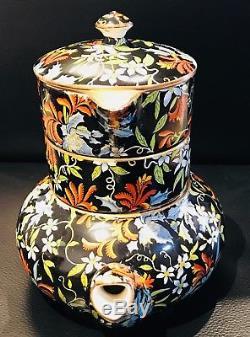 Rare! Mint! Royal Winton Black Chintz Fireglow Stacking Teapot Set Stunning