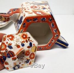 Rare RIDGWAYS Imari OLD DERBY TEA SET with TRAY, TEAPOT, CREAMER, 3 CUPS & SAUCERS