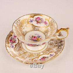 Rare Royal Crown Derby Hand Gilded & Pink Floral Vintage Tea Set & Teapot