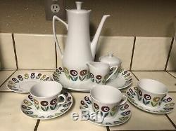 Rare Set Upsala Ekeby Karlskrona Ignis Bellis teapot, sugar, creamer Sweden