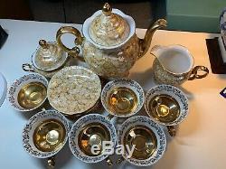 Rare Vintage Poland porcelain 17 pieces Teapot Set