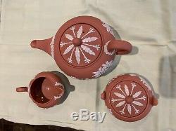 Rare WEDGWOOD Terra Cotta Jasperware Tea Set 1950s Teapot Sugar withlid Creamer