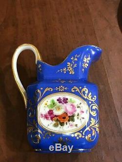 Rare antique Old Paris Teapot & Tea Set Floral blue gold France Porcelain
