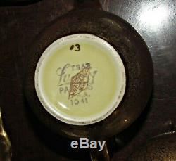 Rare luray 6 pc coffee tea set all gold with pattern tea pot sugar creamer & tray