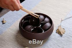 Real yixing zisha tea set original ore purple grit kungfu tea set pot cup tureen