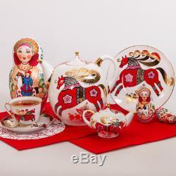 Red Horse Set of 2 Teapots Russian Imperial Lomonosov Porcelain 8.5 & 83 fl oz