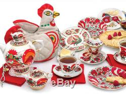 Red Rooster Set of 2 Teapots Russian Imperial Lomonosov Porcelain 8.5 & 61 fl oz