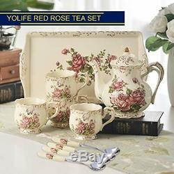 Red Tea Sets Rose Ivory Ceramic Set, Vintage With Teapot, Pretty Set Service For