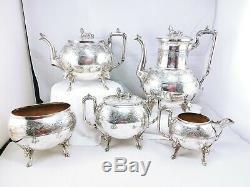 Reed Barton 2245 Sphinx Finial Elk Head Leg Silver Plated Teapot Coffee Pot SET