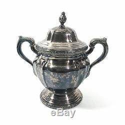 Reed & Barton 4pc De Champlain Silver Teapot Set with Sugar, Creamer & Waste Bowl