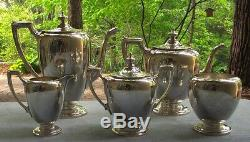 Reed & Barton Sterling Silver Pointed Antique Coffee Set Teapot Creamer Sugar