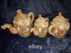 Retro Vtg 11-pc Japanese Porcelain Ceramic Satsuma Moriage Dragon Ware Tea Set