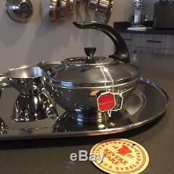 Revere Ware Sugar TEA POT Creamer SET Mid Century Modern TRAY Art Deco ATOMIC