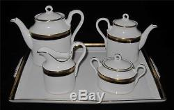 Richard Ginori Black 8 Piece Serving Set, Tray, Coffee & Tea Pots, Creamer Sugar