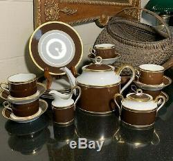 Richard Ginori Contessa Brown Tea Set Teapot Creamer Sugar Cups & Saucers Plates