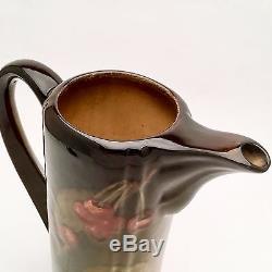 Rookwood Chocolate Pot by Clara Christina Lindeman #528B withCherry Motif ca. 1901